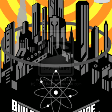 Building Our Future Retro-Futuristic Poster by Rhys Turton